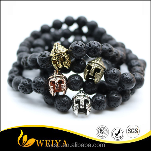 Antique Gold Plated Roman Warrior Gladiator Helmet Bracelet Men Black Lava Rock Stone Bead Bracelets For Men