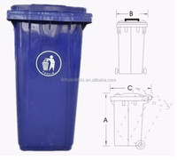 2015 Fashion HDPE 240L Plastic Wheelies Colorful Outdoor Trash Cans