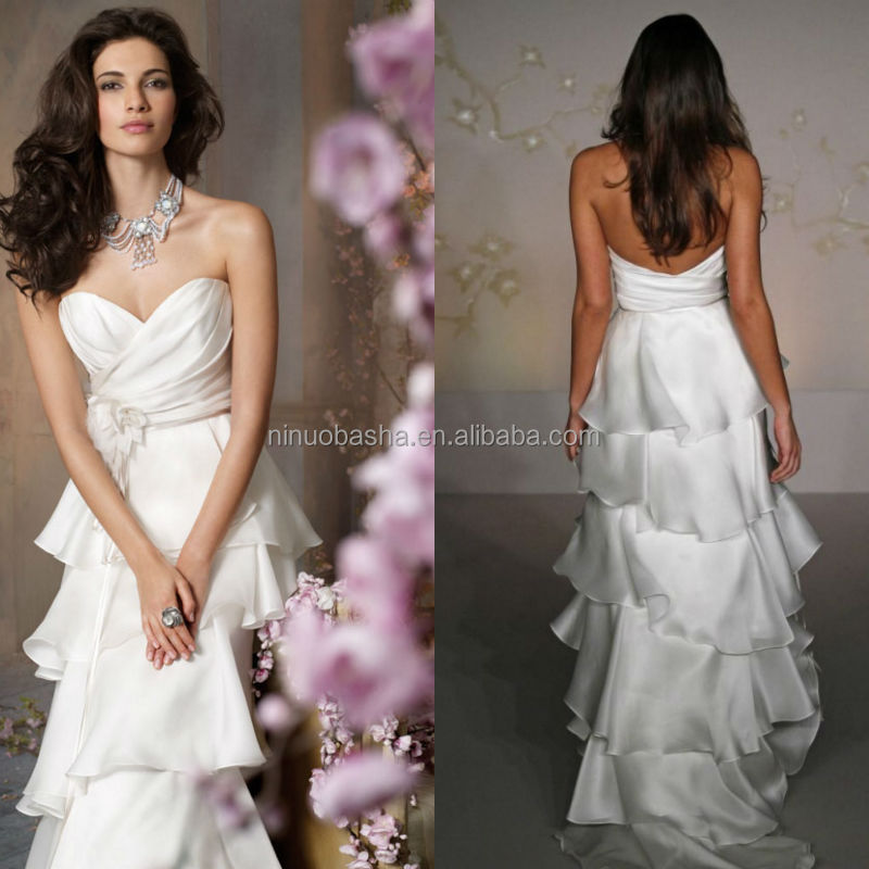 New Arrival 2015 A-Line Wedding Dress Sweetheart Ruched Top Tiered Skirt Organza Bridal Gown Wholesale Suzhou China NB1023