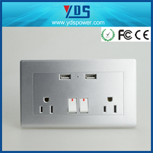 latest innovative electrical products 2 * gangs American Power with USB wall Socket outlet with switch