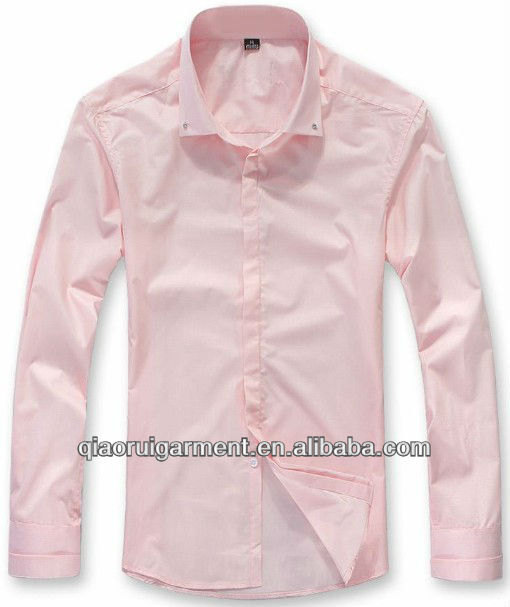 2013 Newest design Trendy fit Pink High quality Dress/office long sleeve shirt for men square collar