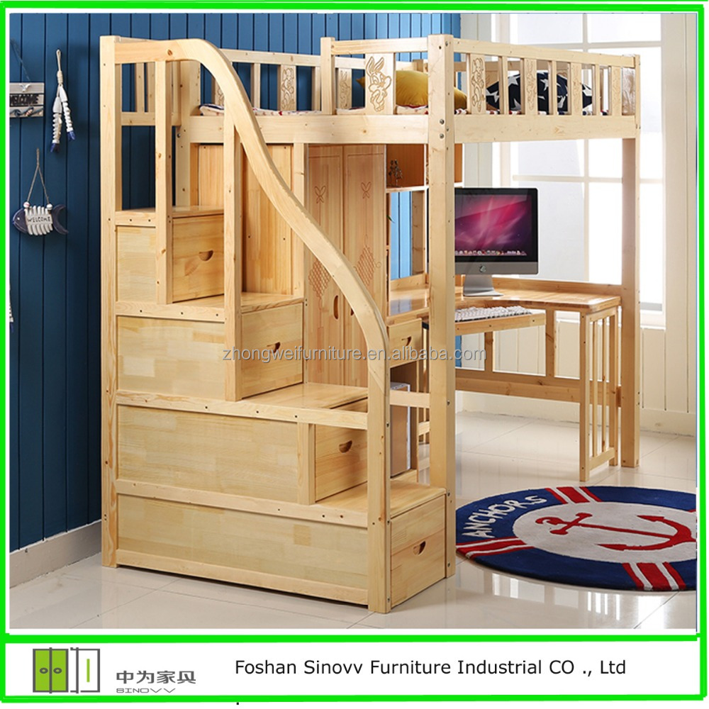 European Pine Wood Bunk Bed with storage ladder for adults
