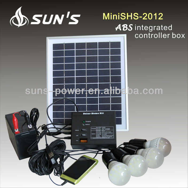 Compact house solar power systems 20W for lighting and mobile charger