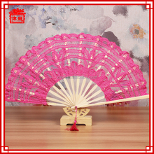 China Make spanish lace folding hand Fuchcia color large hand fans hand fans wedding favors GYS120-6