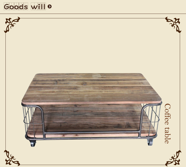 Iron wood furniture American country wrought iron coffee table