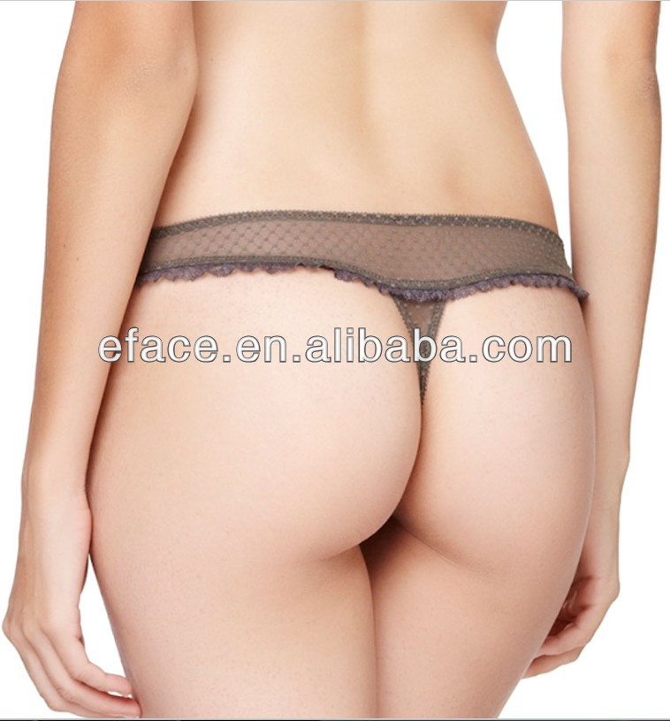 sexy transparent young lady lace brief g string