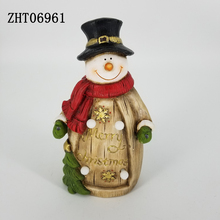 Hot sales 2018 Light up Christmas Decoration Ceremia figurine for Home Decor Red Scarf Snowman LED lights