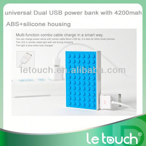 Dual USB universal portable charger cell phone power bank case for iPhone/iPod/iPad/samsung,GPS