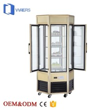 New arrival refrigeration equipment china factory luxury vertical rotating aluminium portable cooler cake display