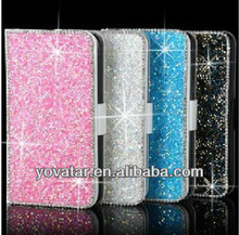 Diamond crystal PU leather full Cover Case for iPhone 5 5G 5s