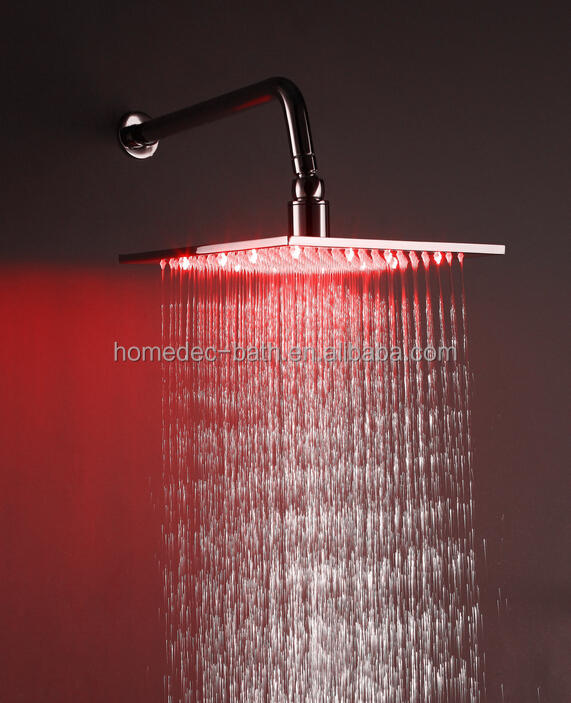 bathroom 3 color changing LED hand rain shower head 12 inches, water saving