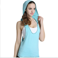 Wholesale Plus Size Sleeveless Fitness Tops For Women Quick Dry Yoga Shirts Loose Sport Gym Clothing Female Hooded
