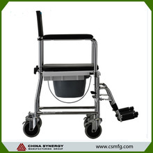 Commode chair for disabled people with wheels and toilet