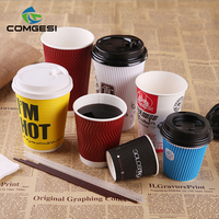 To go logo printed single double wall recycled disposable hot coffee cup with cheap price