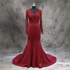Elegant Mermaid Latest Design Long Sleeve Evening Dress Wine Red Lace Top Alibaba Prom Dresses Satin