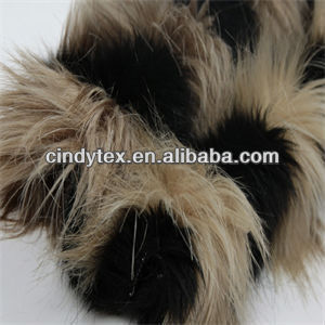 jacquard 60mm 2-tone khaki black long pile soft acrylic polyester imitation fox faux fur fabric