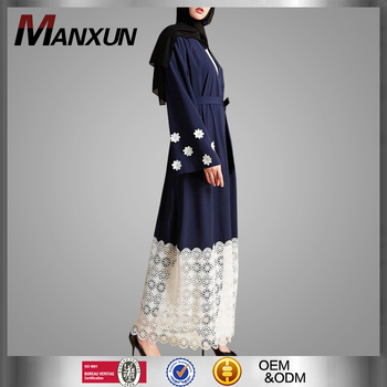 Fashion Dubai Abaya Elegance Floral Front Open Muslim Clothing Factory Service Turkish Long Kaftan Malaysia Abayas Online