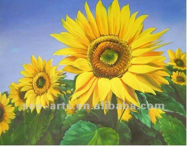 Promotional handmade decorative flower oil painting pictures