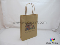cheap plain recycled brown kraft paper bag with twisted handle