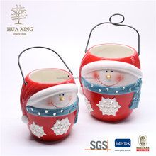 Christmas red doll ceramic candle hollow out lantern