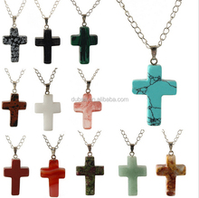 New Arrival Cross Shape Semi-Precious Natural Stone Beads Pendant For Necklace Making