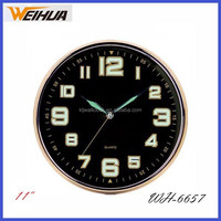Cheap 11 inch round luminous wall clock