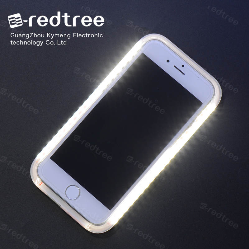 [E-redtree]Led flash light up phone case for apple iphone 5c 6 for samsung galaxy s4 s5 j6 j7 with selfie