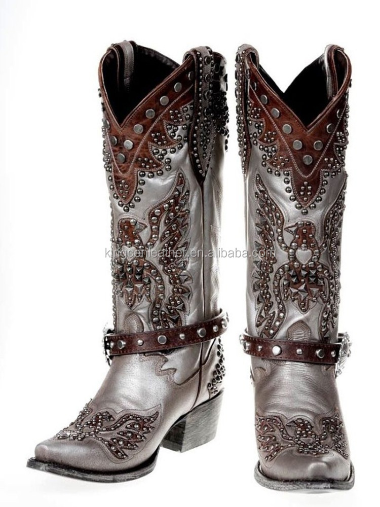 Double D Ranch Lane Brave Eagle Pewter Studded Cowgirl Western Style Boots