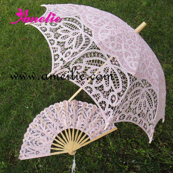 A0104 Partysu pink battenburg lace ladies umbrella & fan set