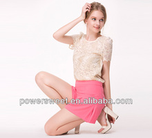 Latest casual style elegant lace beaded design short sleeve blouses 2013 new designs