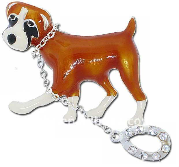 dog on leash rhinestone Brooch pin