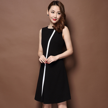 2017 new plain summer dresses bodycon chiffon knee-length formal dinner picture office dress for ladies