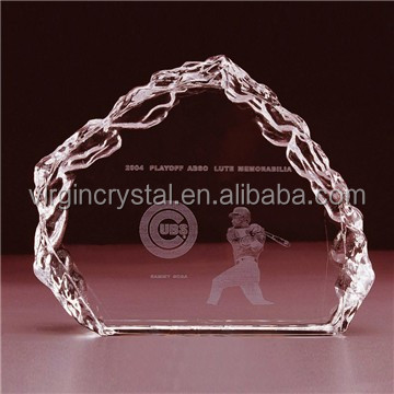 Wholesale 3D laser Engraving crystal iceberg tennis trophy for sprots trophy