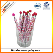 Heat transfer printing plastic ball pen with ball shape on top
