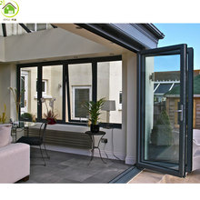 China made low price exterior clear glass aluminum accordion folding door