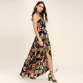 women's backless halter design light chiffon floral maxi dress