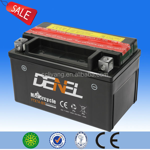12v 7ah maintenance free dry charged quad motorcycle battery(YTX7A-BS)