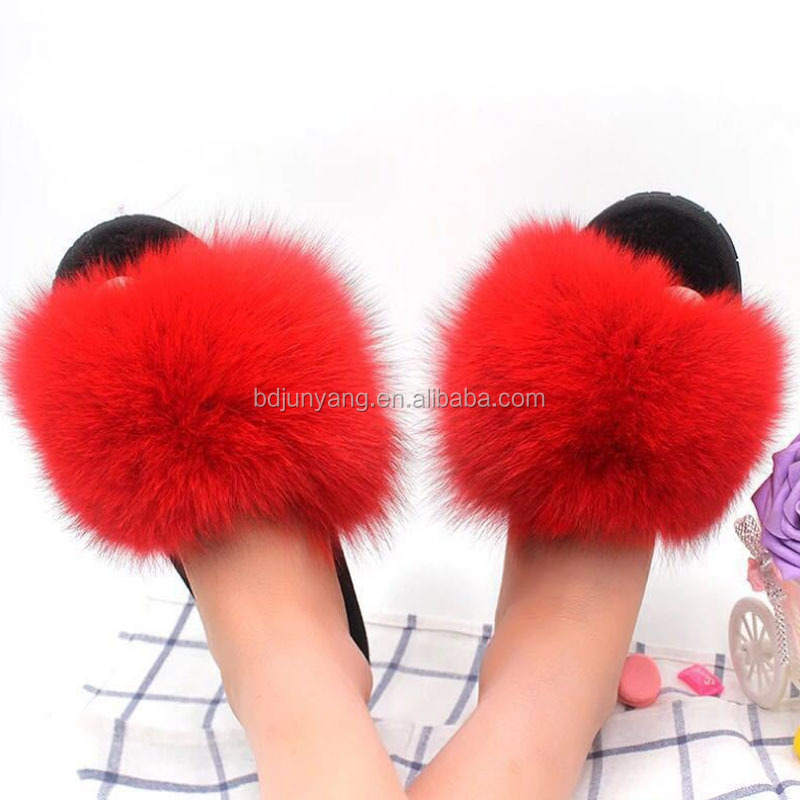 High quality soft women custom fur slippers faux fur slide sandals