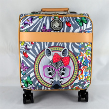 Spin hardsheel customized animal printing PU leather trolley case wholesale luggage distributors