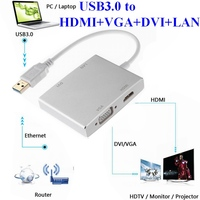 USB 3.0 Hub USB3.0 to 4K HDMI VGA DVI RJ45 LAN 10/100/1000 Gigabit Ethernet Lan 4in1 Video Adapter Converter Cable