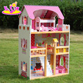 Wholesale luxurious children big wooden dollhouse kits W06A163