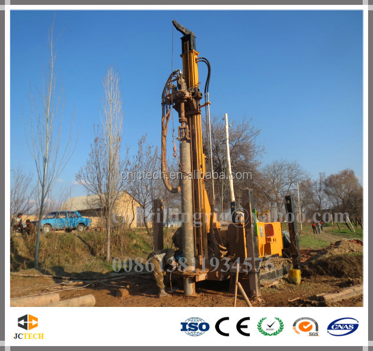 300m crawler mounted hydraulic rotary water well drilling rig can drilling by air compressor and mud pump