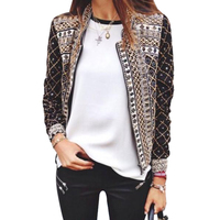 2015 Europe's new fashion thin printed elastic collar long sleeve women slim jackets pattern hot sale top clothing 5640
