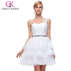 Grace Karin Sexy Sweetheart One Shoulder Design Organza Crystal White Cocktail Dresses CL4589-2