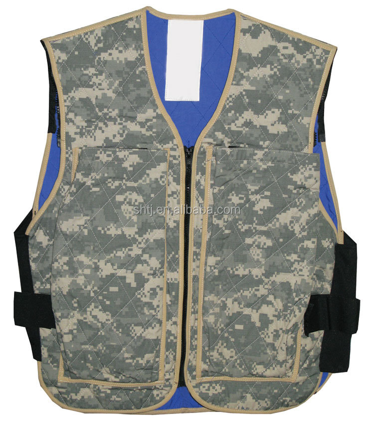 Evaporative Cooling Clothing : Evaporative cooling vest with polymer embedded fabric