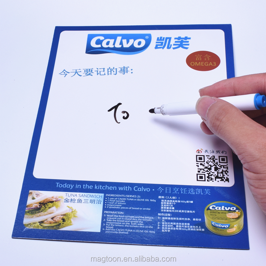 OEM advertising gift refrigerator magnet writing board with erasable pen