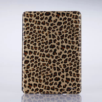 2016 Fashion leopard pattern genuine leather case flip back cover for ipad air 2