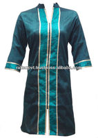 Latest Ethnic Indian Dark Green Color Faux Semi Raw Silk Kurti with Brocade Patchwork
