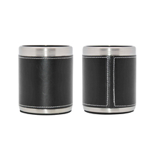 PU leather wrapped stainless steel cola can cooler stubby can holder