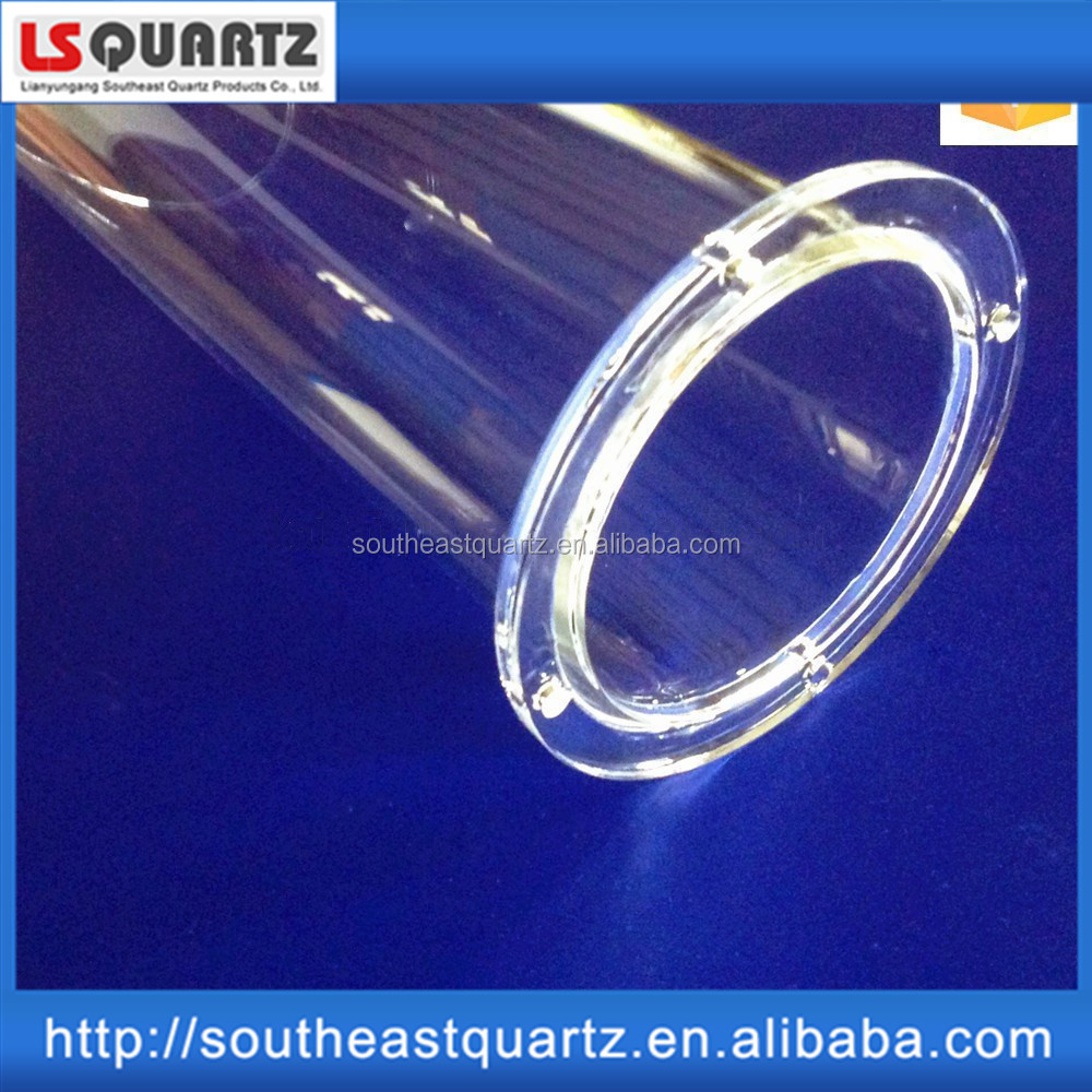 Large diameter quartz glass tube high quality heat resistant clear quartz pipe with flange furnace quartz tube